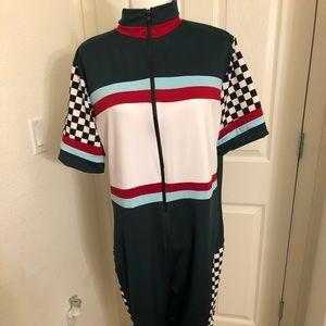 Pants - Zipper Checkered Short Sleeve Chic Jumpsuit